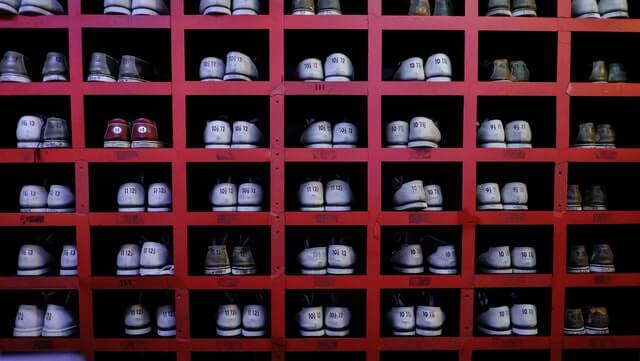 grid of shoes